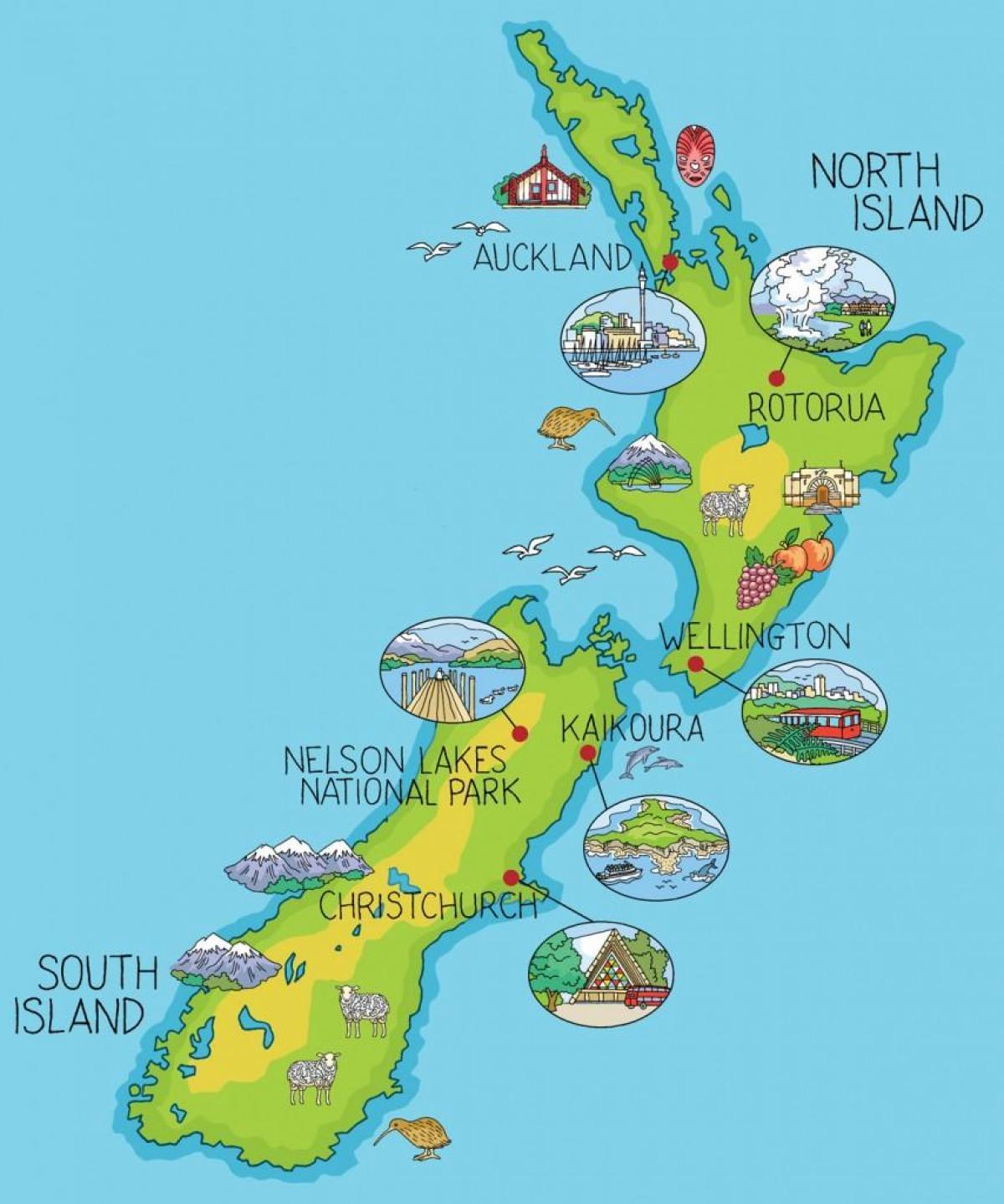 Carte Nouvelle Zelande Dessin.La Nouvelle Zelande Cartoon Carte Carte De Nouvelle